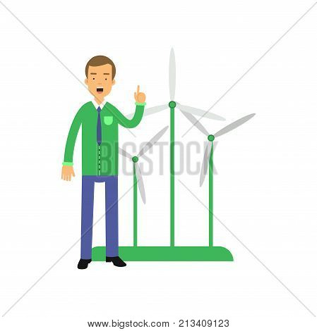 Man cartoon character standing with hand up, windmills behind. Environment preservation. Eco-friendly energy. Alternative sources of energy. Ecological lifestyle concept. Flat vector isolated on white