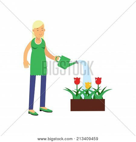 Smiling blonde woman cartoon character watering tulip flowers from watering can. Contributing into environment preservation. People who protect nature. Flat vector illustration isolated on white.