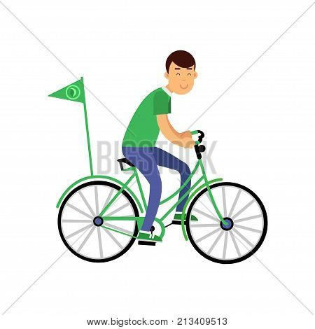 Cheerful young boy character in green t-shirt riding a bicycle with flag. Contributing into environment protection. Ecological lifestyle, ecology, environment concept. Flat vector isolated on white.