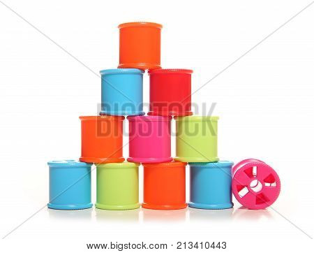 chidrens coloured threading cotton reels studio cutout