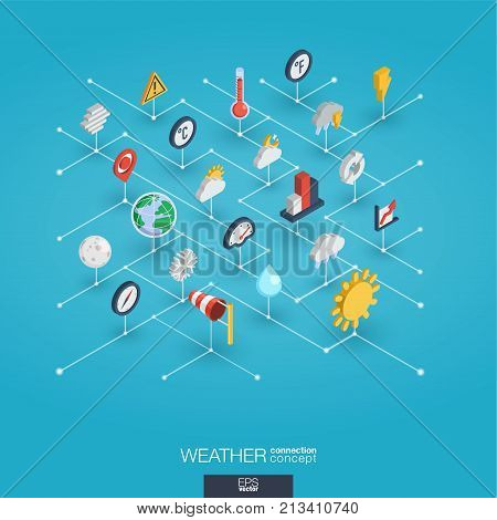 Weather forecast integrated 3d web icons. Digital network isometric interact concept. Connected graphic design dot and line system. Abstract background for meteorology and nature. Vector Infograph