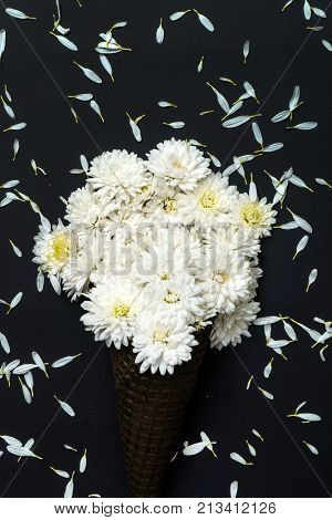 white chrysanthemum flowers in black waffle cone