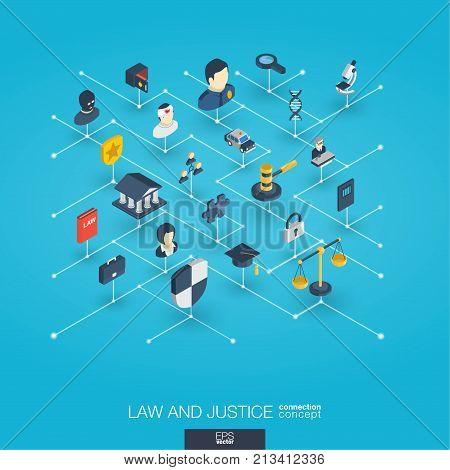 Law, justice integrated 3d web icons. Digital network isometric interact concept. Connected graphic design dot and line system. Abstract background whith lawyer, crime and punishment. Vector Infograph