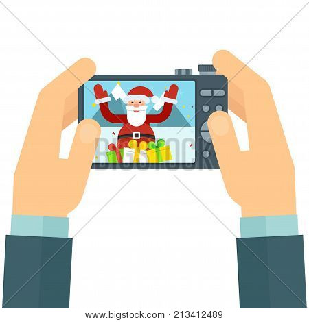 Photographer with camera in his hands. Snapshot of Santa Claus with gifts and mountains landscape. Flat vector cartoon illustration. Objects isolated on white background.