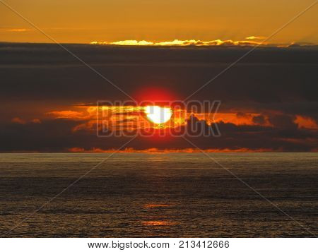Sunset on the ocean. The eye of God