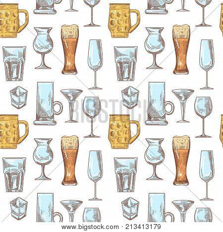 Different Drink Beverage Glasses Seamless Pattern. Stemware Hand Drawn Background. Vector illustration