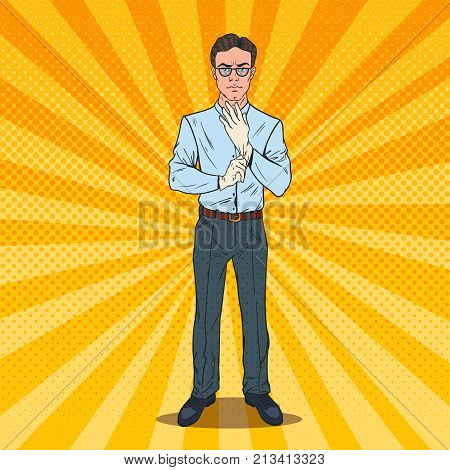 Pop Art Serious Male Inspector Wearing White Gloves. Professional Auditor. Vector illustration