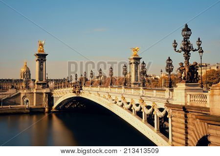 Alexandre III bridge and Napoleon tomb in Paris, France.