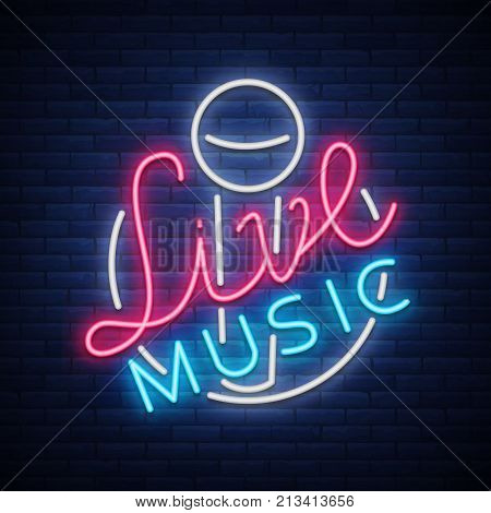 Live musical neon sign, logo, emblem, symbol poster with microphone. Vector illustration. Neon bright sign, Nightlife club advertising, karaoke and other institutions with music.
