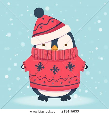 Penguin cartoon illustration. Penguin in sweater and hat