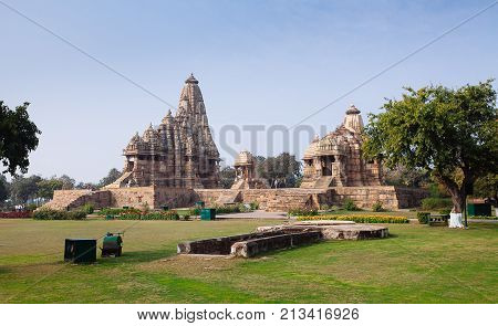 Hindu And Jain Temples In Khajuraho. Madhya Pradesh, India.