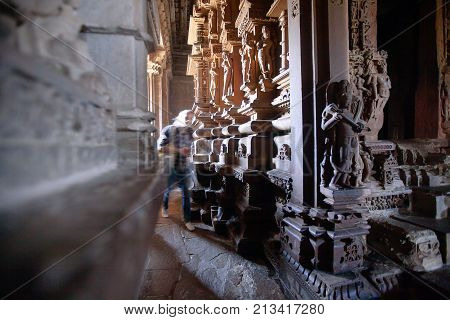 Interior Of Hindu And Jain Temples In Khajuraho. Madhya Pradesh, India.