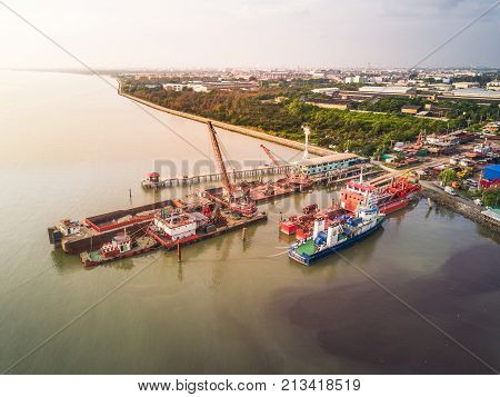Shipyard at estuary in the gulf of Thailand