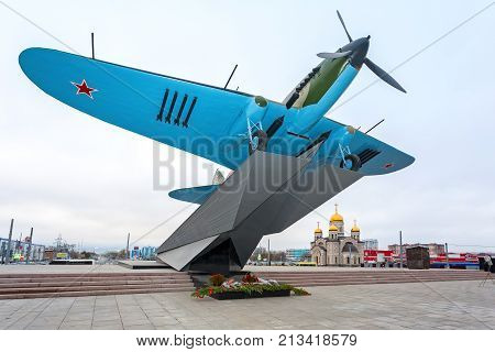 Samara Russia - November 12 2017: Monument to low-flying attack airplane