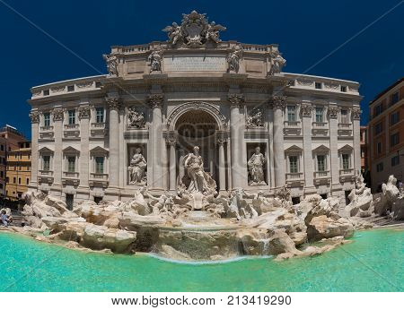 Trevi Fountain in Rome Italy. Trevi is most famous fountain of Rome. (qualitative image of high resolution)