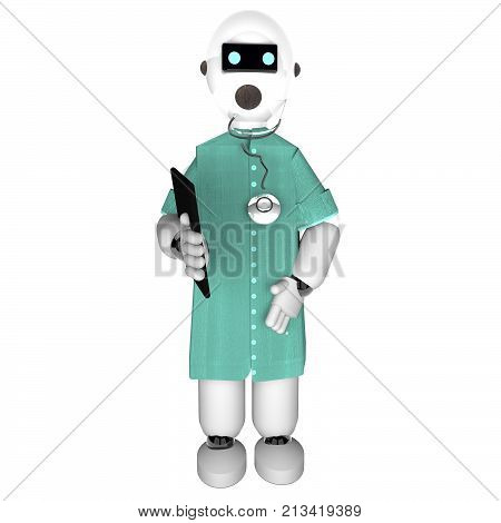 Robot dressed as a medician, 3d rendering