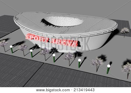 Sport arena seen from above, 3d rendering