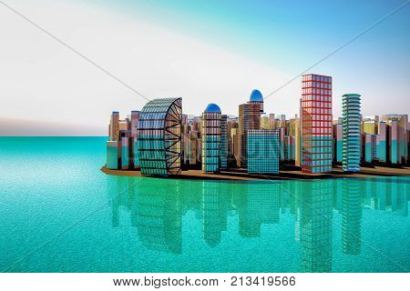 City With Big Building Near The Sea