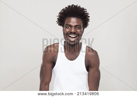 Laughing And Positive Concept. Man Looking At Camera And Smiling.
