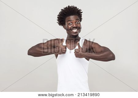 Funny Afro Man With Mustache, Looking At Camera And Thumbs Up.