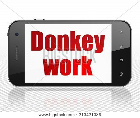 Business concept: Smartphone with red text Donkey Work on display, 3D rendering