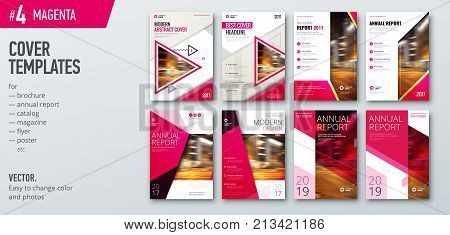 Set of cover design template for brochure, report, catalog, flyer, magazine or booklet. Creative magenta vector background concept