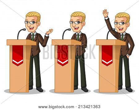 Set of blonde businessman in brown suit cartoon character design politician orator public speaker giving a talk speech presentation standing behind rostrum podium, isolated against white background.