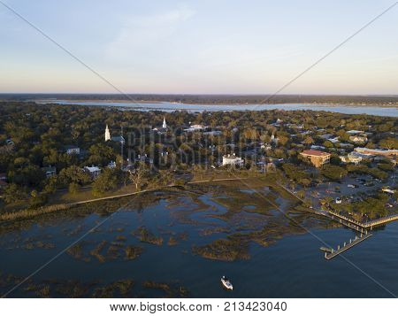 Aerial view of historic Beaufort, South Carolina at sunset
