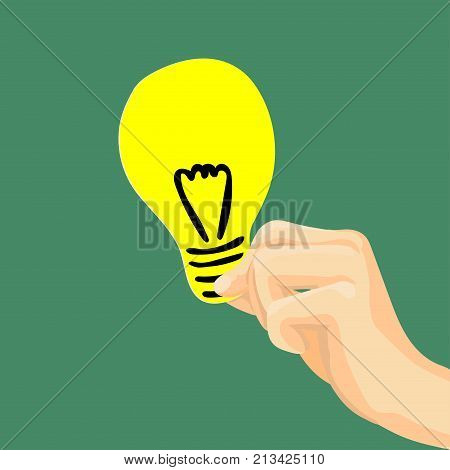 Hand holding light bulb Flat style modern idea innovation light bulb infographic concept. Conceptual web illustration of businessman hand holding lamp. Vector Illustration.