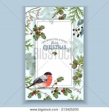 Vector vintage Christmas frame with forest branches and bullfinch. Detailed winter design for Christmas greeting card, party invitation, holiday sales. Can be used for poster, web page, packaging