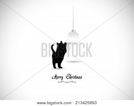 Silhouette of black cat and Christmas bell