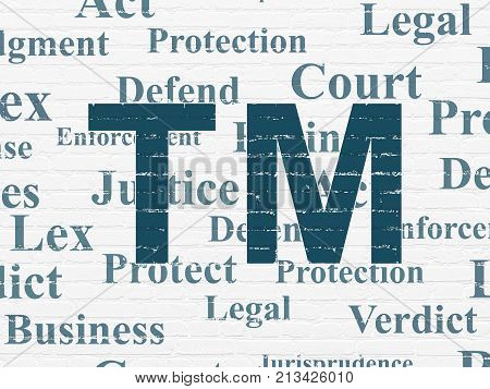 Law concept: Painted blue Trademark icon on White Brick wall background with  Tag Cloud