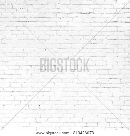 Abstract Whitewash Brickwall Background Texture. Old White Brick Wall. Grunge Square image Wallpaper or Web banner With Copy Space For design