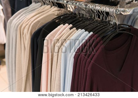 Men Clothes, Row Of Sweatshirts, Shopping