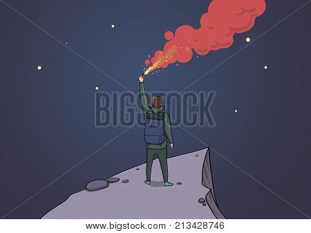 Tourist with the flare on a mountain looking at the stars. Backpacker on a rock sending SOS. Torch in the night. Horisontal vector illustration cartoon character. Conceptual art.