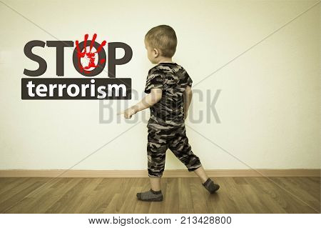 Stop Terrorism Concept. The Boy In Uniform