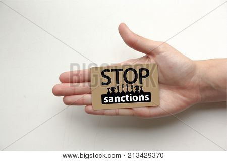 Stop Sanctions Concept. The Inscription