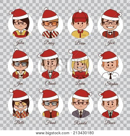 Set of Christmas characters. Set of avatars your office team in Christmas hats. Characters in Christmas caps. Vector Christmas icons on transparent background