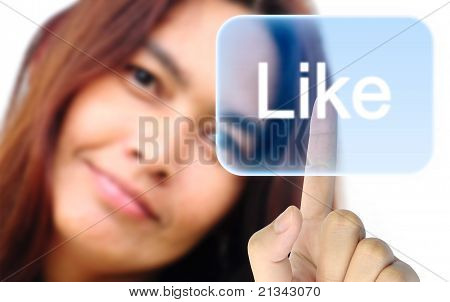 women hand pushing like button on a touch screen interface