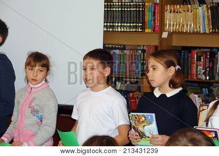 CHAPAEVSK, SAMARA REGION, RUSSIA - NOVEMBER 26, 2017: Grammar school in city Chapaevsk. Schoolchildren in classroom at lesson