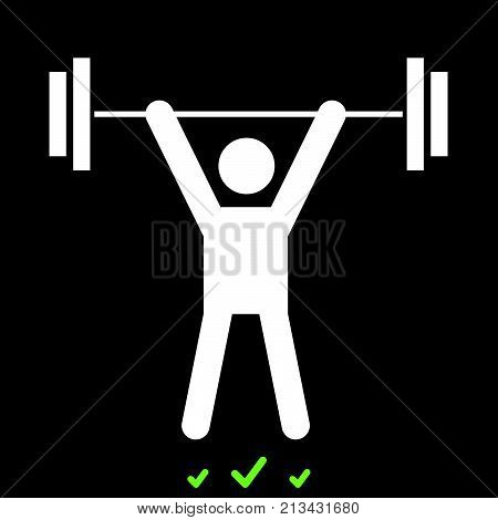 Man Uping Weight It Is White Icon .