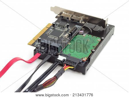 Hard disk drive for use in desktop computers and servers and disk array controller card with connected power cable and different data cables on a white background