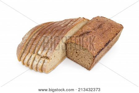 Half of the rectangular loaf of whole wheat bread bread with rye and sliced round loaf of the wheat and rye hearth bread on white background