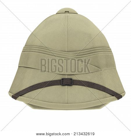 Classic Cork Pith Helmet. Front view. Equipment for safari or explorer. Research and discover. 3D render Illustration isolated on a white background.