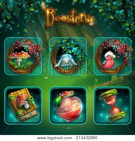 Set of different items for game user interface. Vector background illustration screen to the computer game Shadowy forest GUI. Background image to create original video or web games graphic design screen savers.