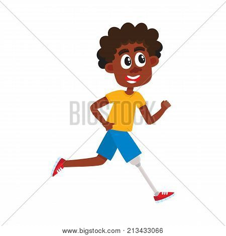 Young black, African American man with prosthesis, sportsman running on artificial leg, cartoon vector illustration isolated on white background. Funny cartoon black man, sportsman with prosthetic leg