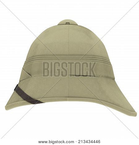 Classic Cork Pith Helmet. Side view. Equipment for safari or explorer. Research and discover. 3D render Illustration isolated on a white background.