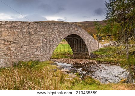 Gairnshiel Bridge, on the Snow Road or Old Military Road which is a scenic drive through the Cairngorms National Park, it crosses the River Gairn on Gairnshiel Bridge