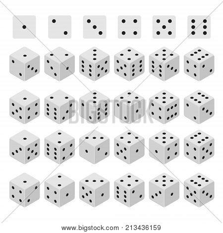 3d Dice Combinations Cube Variation Random Set Isometric View Gaming Game Element Design Casino Sign. Vector illustration of Combination Bone