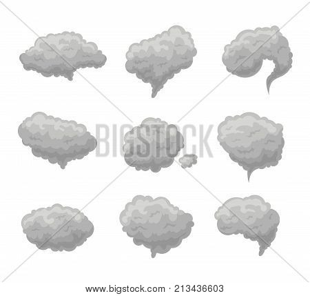 Cartoon Grey Smoke Fog Set on a White Background Weather or Atmosphere Effect Concept Flat Design Style. Vector illustration